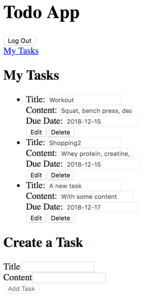 Task list with token